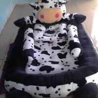 kasur baby karakter sapi hitam - putih
