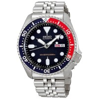 Jam Tangan Seiko SKX009K2 Diver Automatic Stainless Silver Blue Red