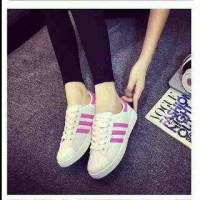 BARU- sepatu kets Replikas adidas putih plat 3 FANTA / PINK