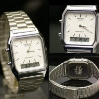 jam tangan wanita analog digital casio AQ 230A-7d original double time