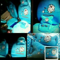 Sarung Jok Khusus Mobil Agya&Ayla Motif Doraemon Biru Bintik Putih