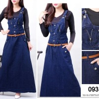 Overall gamis jeans hijabers rok panjang muslimah jumpsuit with inner