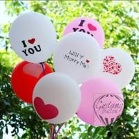 Balon Motif  I Love You/Marry Me/Hati/Hati Kecil - Lengkap Murah