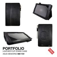 Flipcover Leather Portfolio Hitam Flip Case Cover Asus Memopad ME172V