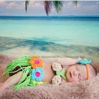 CS 433 - Rainbow Hula. Baju bayi rajut. Baby photo costumes. baju foto