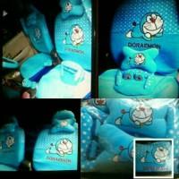 Sarung Jok Mobil Agya&Ayla motif Doraemon Biru Bintik Putih