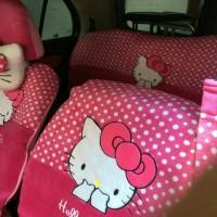 Sarung Jok Mobil Agya&Ayla Motif Hello Kitty Pink Bintik Putih