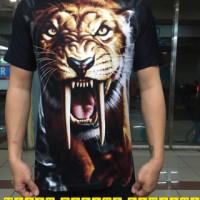 baju kaos distro spandex karakter macan taring panjang 3D murah bagus