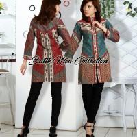 Baju Batik Blouse Atasan Wanita Baru Sinaran 2 Toska Katun Pekalongan