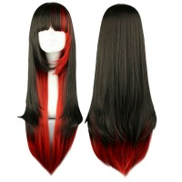 wig ombre gradasi warna cosplay red black