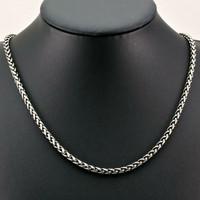 Kalung Pria Rantai Titanium Silver Kecil-Neklace Import Anti Karat 4mm