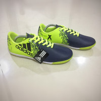 SALE !! Sepatu Futsal Adidas X Tech Fit Blue Navy-Hijau Stabilo Premiu