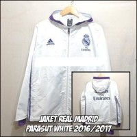 Jaket Real Madrid Parasut Waterpoof White 2016-2017