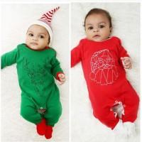 Baju pakaian kostum topi baby jumper bayi christmas natal rusa santa