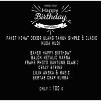 Paket Hemat dekorasi ulang tahun muda mudi simple & clasic