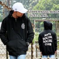 JAKET ANTI SOCIAL SOCIAL CLUB BLACK - PREMIUM BONUS TOPI