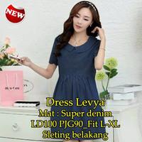 [ Dress Levya SW ] pakaian wanita dress warna biru dongker