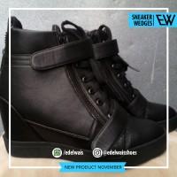 sepatu sneaker wedges wanita hitam sekolah kets zumba nike