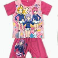 Baju tidur anak/setelan anak/piama anak/piyama kaos Aikatsu 14,16,18