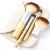 Set Kuas MakeUp Bamboo Cosmetic Make Up Brush 5 pcs 5pcs Pouch Bag Tas