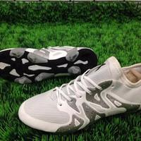 Sepatu Bola Adidas X 15.1 - White Silver Metalic (tapak hitam)