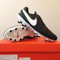 Sepatu Bola Nike Tiempo Genio II Leather FG Black White 819213-010 Ori