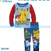 pakaian anak laki laki / 203b baju setelan kaos piyama pokemon
