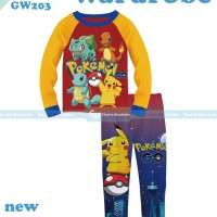 pakaian anak laki laki / 203a baju setelan piyama pokemon