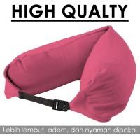 Bantal Leher / High Quality Travel Neck Pillow Multifungsi - Pink