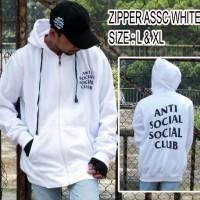 JAKET ANTI SOCIAL SOCIAL CLUB WHITE - PREMIUM BONUS TOPI