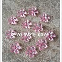 Manik Akrilik Glass Bunga Pink isi 12 pcs Bahan Aksesoris