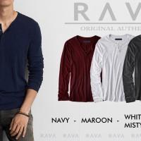 Baju Kaos Pria Henley Lengan Panjang Misty by RAVA (BEST SELLER)