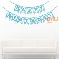 Bunting Flag HBD Biru Polkadot | Banner Flag Happy Birthday Biru