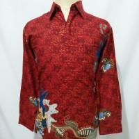 kemeja batik pria baju batik cowok semi sutra lengan panjang U7