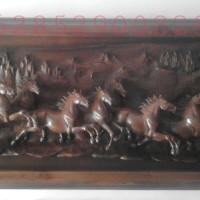 Relief Patung Hiasan Dinding Relif Kuda Kayu Jati Lukisan Ukiran Dekor