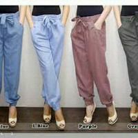 Celana joger wanita katun denim supernova, joger basic pants