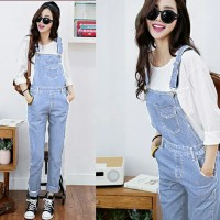 celana kodok jeans biru muda panjang / wanita / jumpsuit