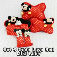 Set Bantal Mobil 3 in 1 MICKEY MOUSE Baby Onde Love Red