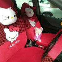 Sarung Jok Mobil Agya & Ayla Motif Hello Kitty Merah Bintik Hitam