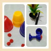 paket alat sulap amatir/pemula/tongkat bunga/magic vase/cup balls