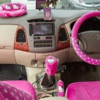 Sarung Jok Mobil Agya & Ayla Motif Hello Kitty Pink Bintik Putih