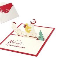 Kartu Ucapan Selamat Natal Pop-Up 3D (Christmas Card) Sleigh & Santa