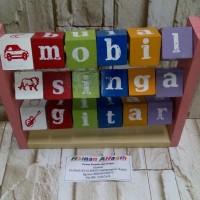 mainan edukasi kayu- membaca balok 5 huruf