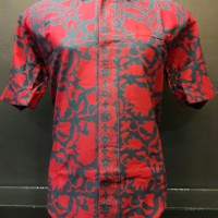 Baju Batik Kemeja Pria Baru Motif Daun Bunga Merah Katun Cirebon