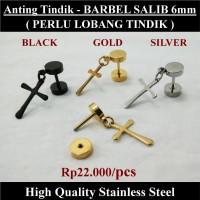 Anting Tindik Cowok Pria - BARBEL SALIB 6mm