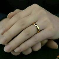 Cincin Kawin Emas Titanium Ukir Nama Grafir / Ring Pria Wanita Gold