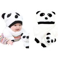 Topi Kupluk Anak Bayi Rajut + Syal - Panda