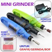Mesin Mini Grinder Grafir Bor Potong Gerinda Ukir + Adaptor DC + Mata