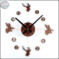 Jam Dinding unik DIY Giant Wall Clock 30-60cm Diameter - Brown G337