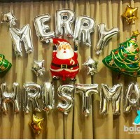 Balon Foil Merry Christmas Set silver